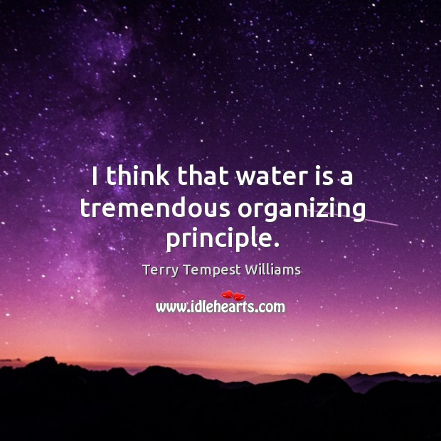 I think that water is a tremendous organizing principle. Image