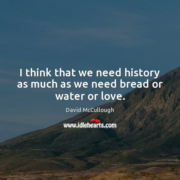 Image, I think that we need history as much as we need bread or water or love.