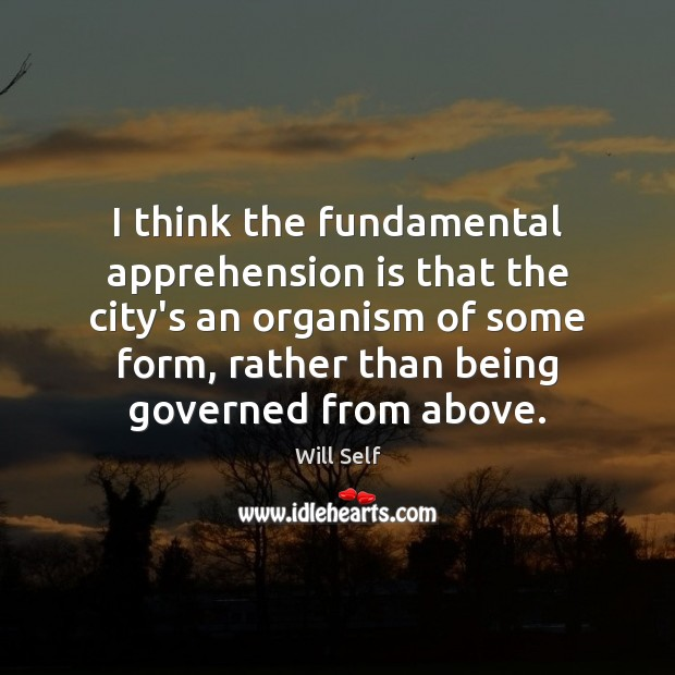 Image, I think the fundamental apprehension is that the city's an organism of