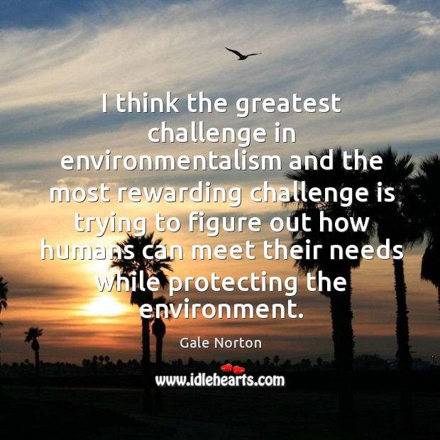 I think the greatest challenge in environmentalism and the most rewarding challenge Gale Norton Picture Quote