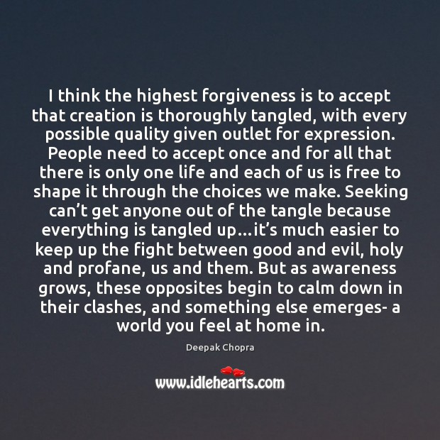 I think the highest forgiveness is to accept that creation is thoroughly Image