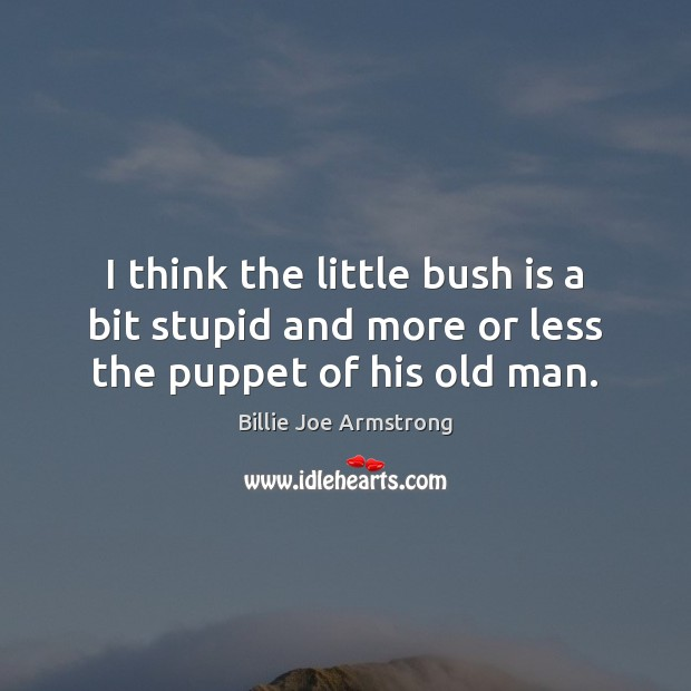 I think the little bush is a bit stupid and more or less the puppet of his old man. Image