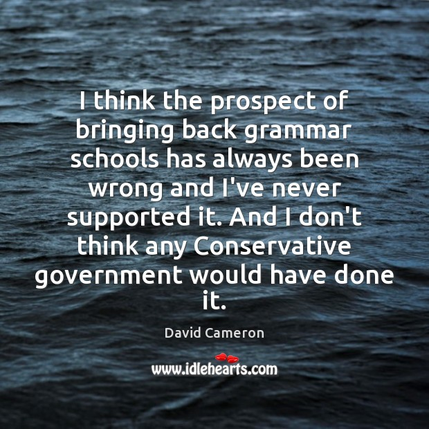 I think the prospect of bringing back grammar schools has always been David Cameron Picture Quote