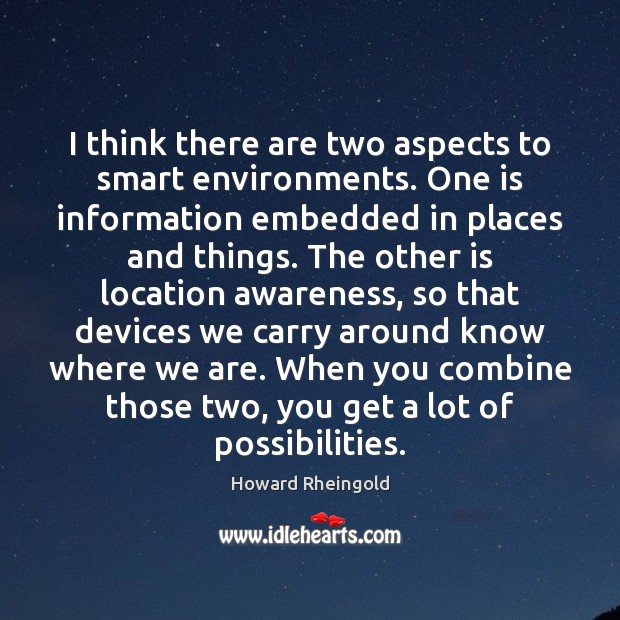 I think there are two aspects to smart environments. One is information Image