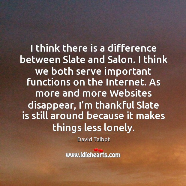 I think there is a difference between slate and salon. I think we both serve important Image