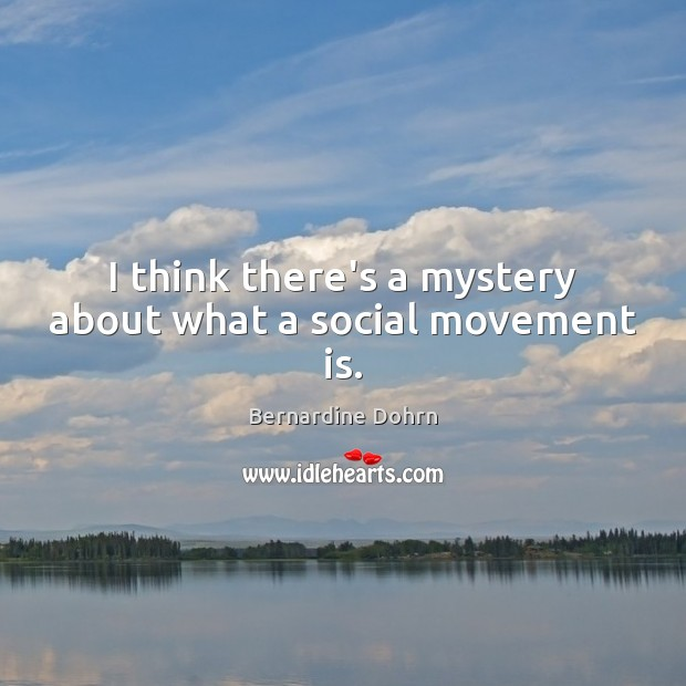 I think there's a mystery about what a social movement is. Bernardine Dohrn Picture Quote