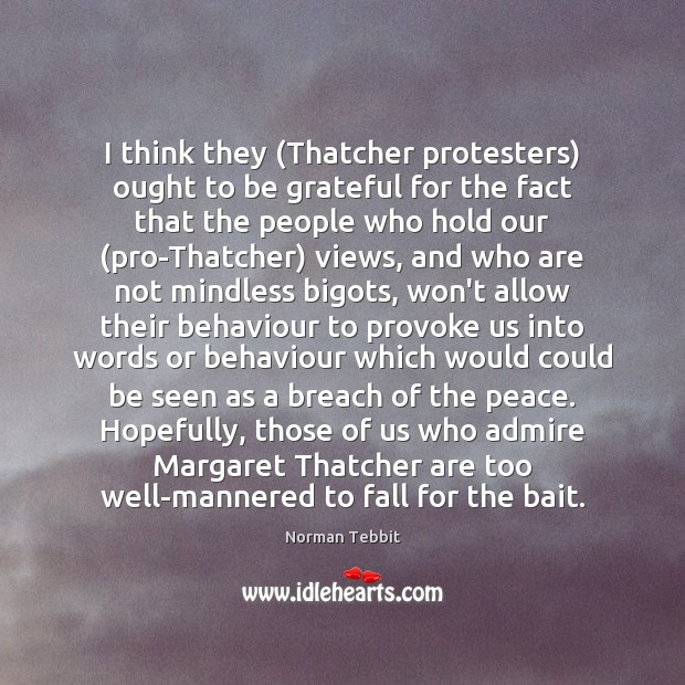 I think they (Thatcher protesters) ought to be grateful for the fact Norman Tebbit Picture Quote