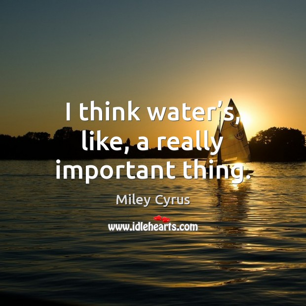 Image, I think water's, like, a really important thing.