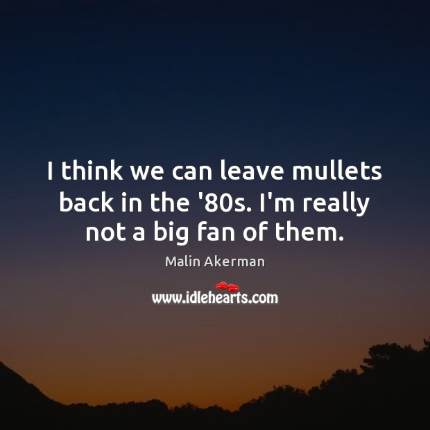 I think we can leave mullets back in the '80s. I'm really not a big fan of them. Malin Akerman Picture Quote
