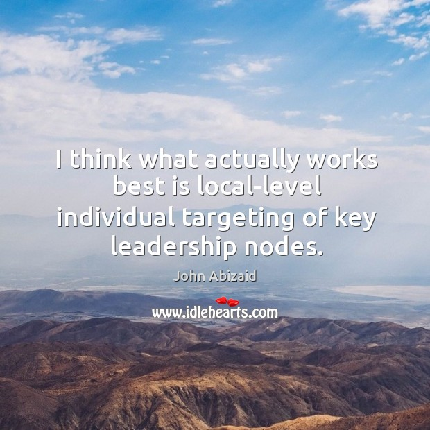 I think what actually works best is local-level individual targeting of key leadership nodes. Image