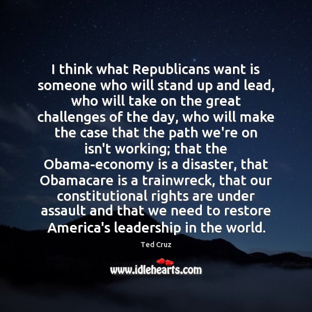 Image, I think what Republicans want is someone who will stand up and