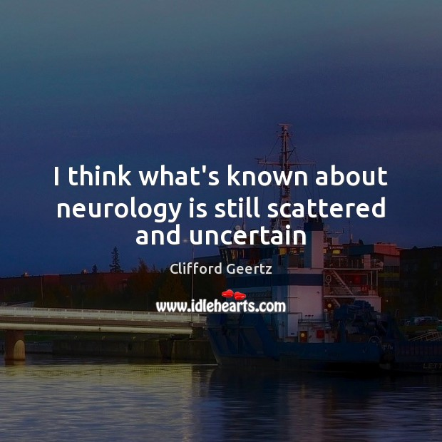 I think what's known about neurology is still scattered and uncertain Image