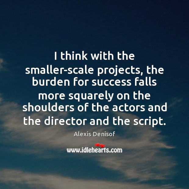 Image, I think with the smaller-scale projects, the burden for success falls more
