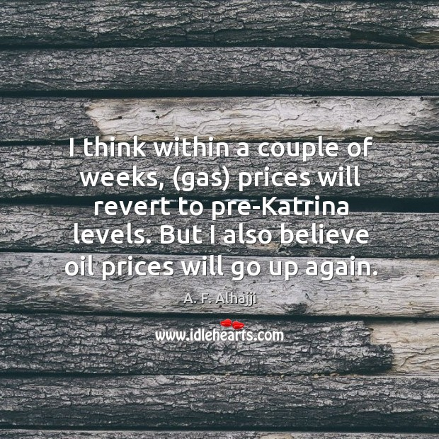 I think within a couple of weeks, (gas) prices will revert to pre-katrina levels. But I also believe oil prices will go up again. Image