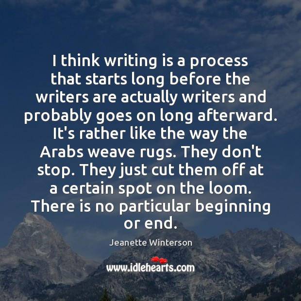 I think writing is a process that starts long before the writers Jeanette Winterson Picture Quote