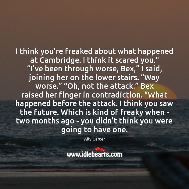 I think you're freaked about what happened at Cambridge. I think Ally Carter Picture Quote