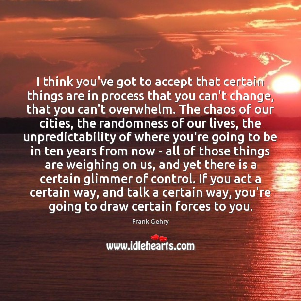I think you've got to accept that certain things are in process Frank Gehry Picture Quote