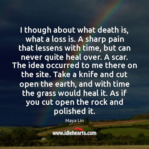 I though about what death is, what a loss is. A sharp Maya Lin Picture Quote