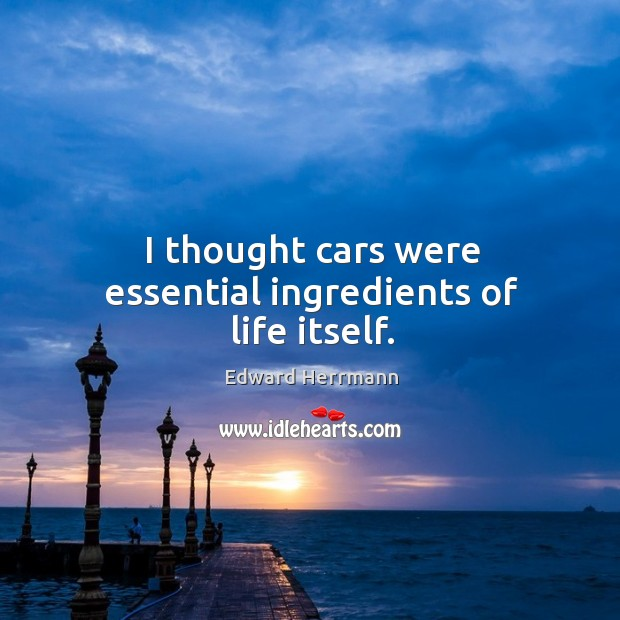 I thought cars were essential ingredients of life itself. Image