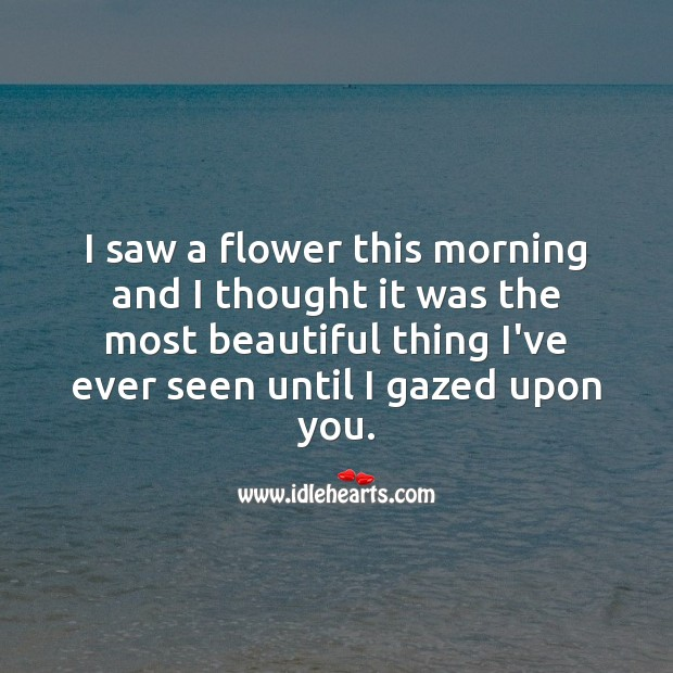 I thought flower was the most beautiful thing I've ever seen until I gazed upon you. Flowers Quotes Image
