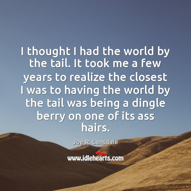 I thought I had the world by the tail. It took me Image