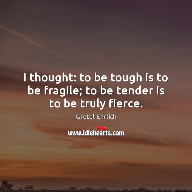 I thought: to be tough is to be fragile; to be tender is to be truly fierce. Gretel Ehrlich Picture Quote