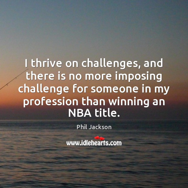 Image, I thrive on challenges, and there is no more imposing challenge for