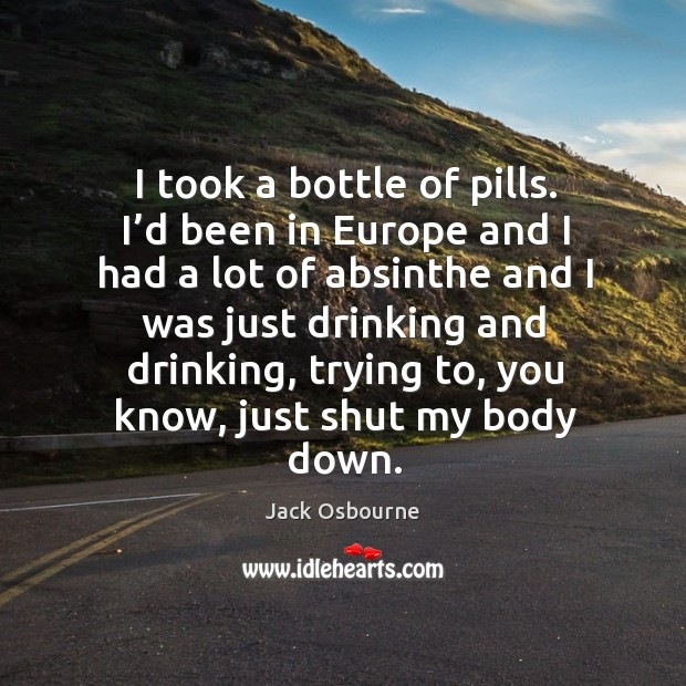 Image, I took a bottle of pills. I'd been in europe and I had a lot of absinthe and I was just drinking and drinking