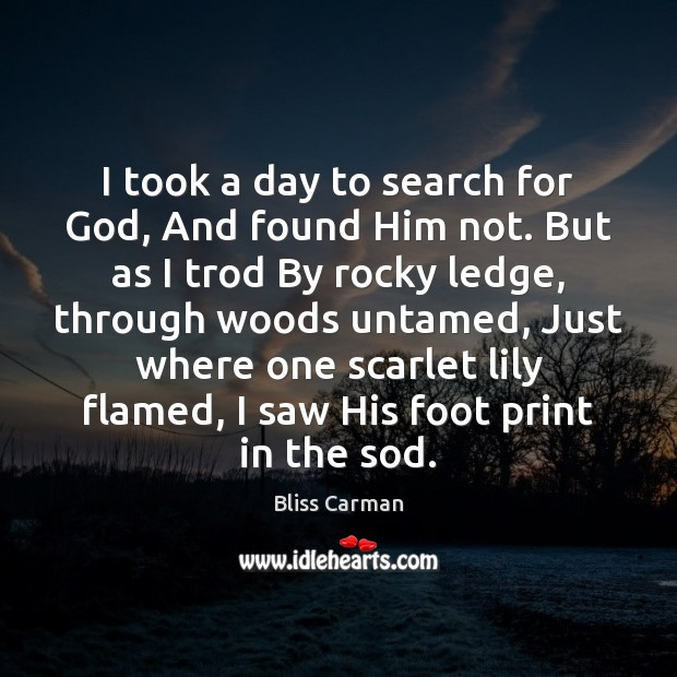 Image, I took a day to search for God, And found Him not.