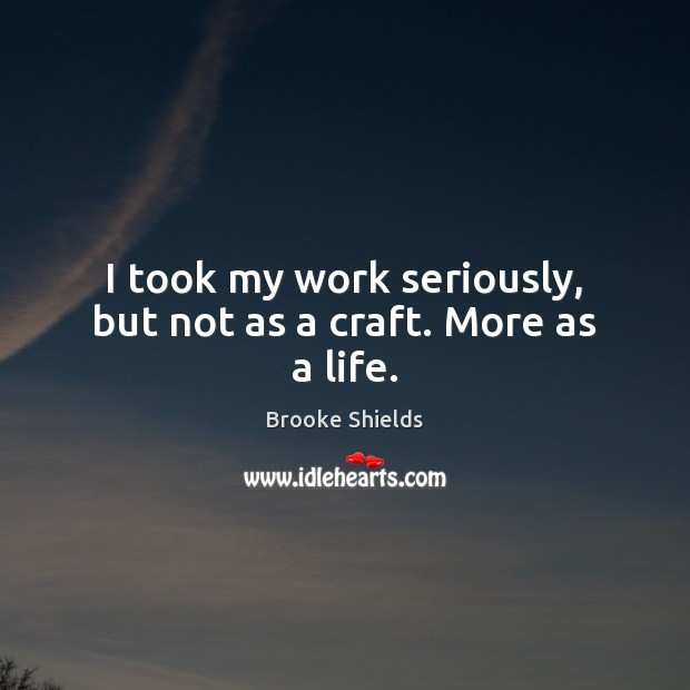 Image, I took my work seriously, but not as a craft. More as a life.