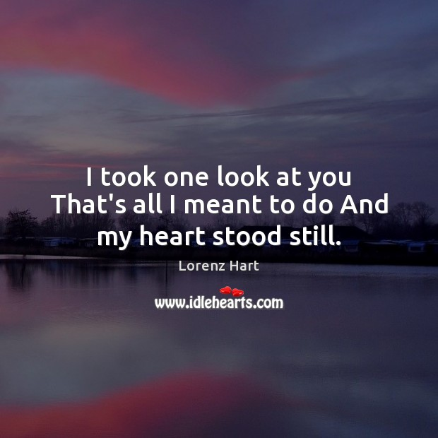 Image, I took one look at you That's all I meant to do And my heart stood still.