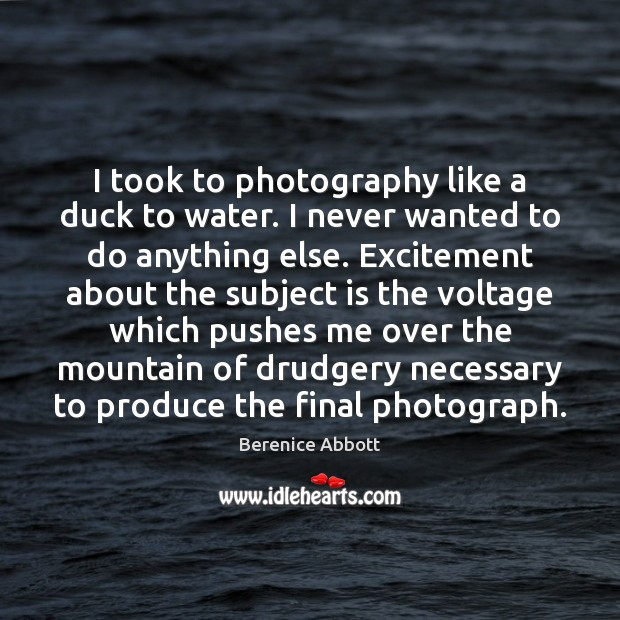 Image, I took to photography like a duck to water. I never wanted