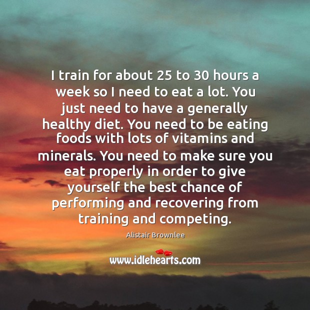 Image, I train for about 25 to 30 hours a week so I need to