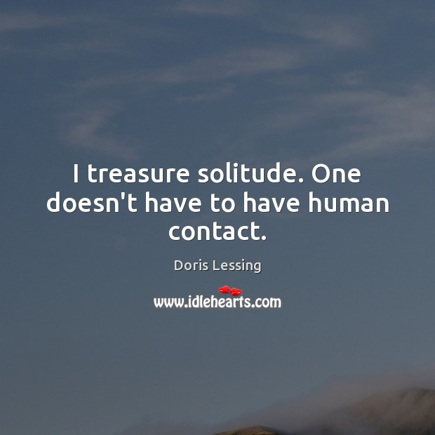 I treasure solitude. One doesn't have to have human contact. Doris Lessing Picture Quote