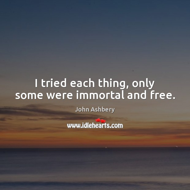 I tried each thing, only some were immortal and free. John Ashbery Picture Quote