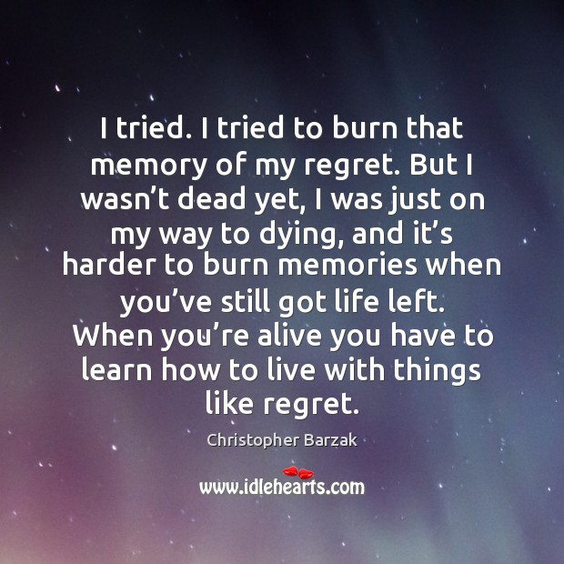 I tried. I tried to burn that memory of my regret. But Christopher Barzak Picture Quote