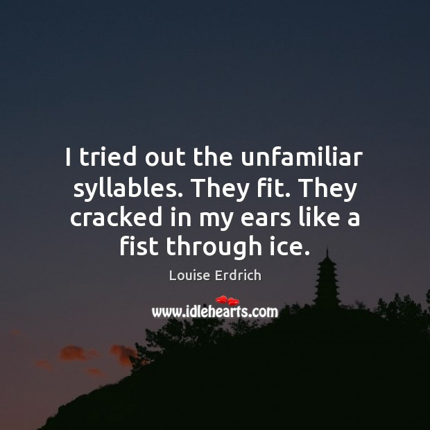 I tried out the unfamiliar syllables. They fit. They cracked in my Louise Erdrich Picture Quote