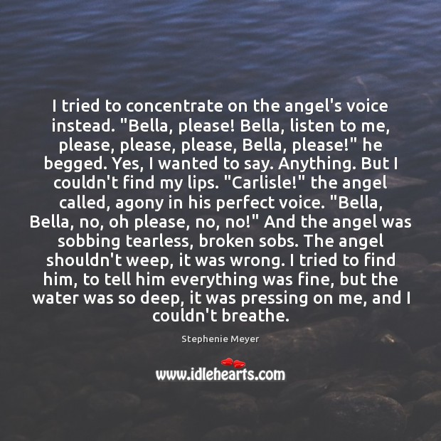 """I tried to concentrate on the angel's voice instead. """"Bella, please! Bella, Image"""