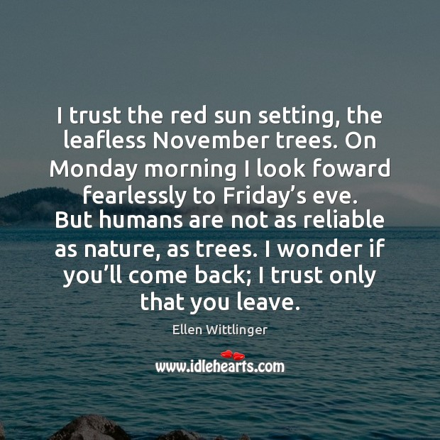 I trust the red sun setting, the leafless November trees. On Monday Image