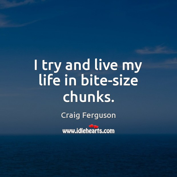 I try and live my life in bite-size chunks. Craig Ferguson Picture Quote