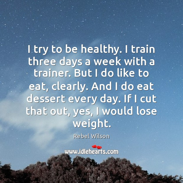 Image, I try to be healthy. I train three days a week with
