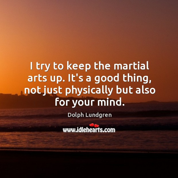 I try to keep the martial arts up. It's a good thing, Dolph Lundgren Picture Quote