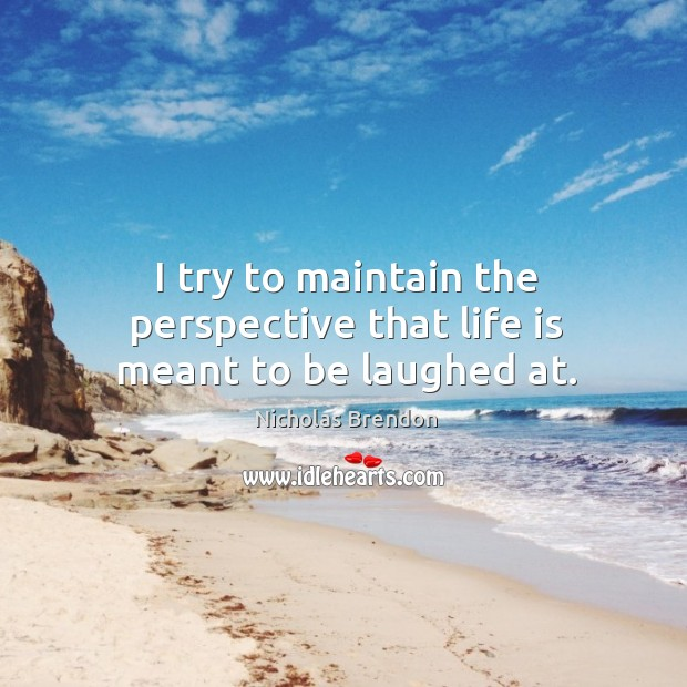 I try to maintain the perspective that life is meant to be laughed at. Nicholas Brendon Picture Quote