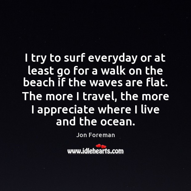 I try to surf everyday or at least go for a walk Jon Foreman Picture Quote