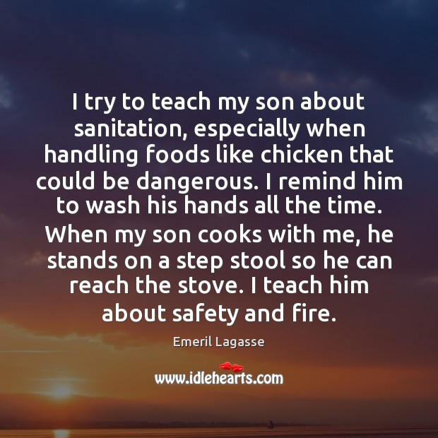 I try to teach my son about sanitation, especially when handling foods Emeril Lagasse Picture Quote