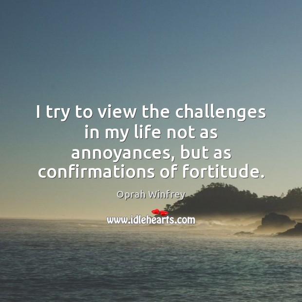 Image, I try to view the challenges in my life not as annoyances,