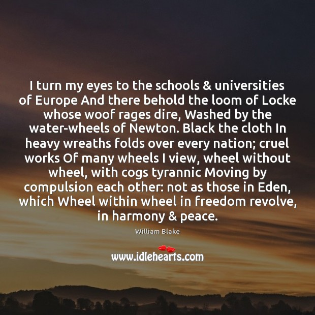 I turn my eyes to the schools & universities of Europe And there Image