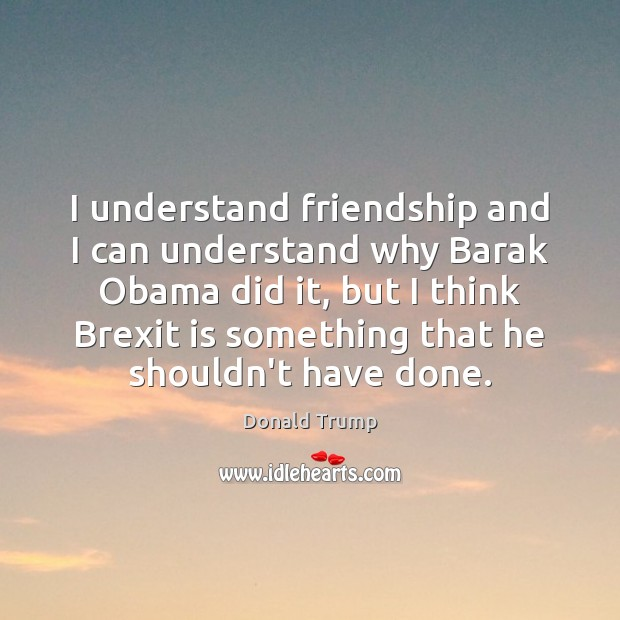 I understand friendship and I can understand why Barak Obama did it, Image
