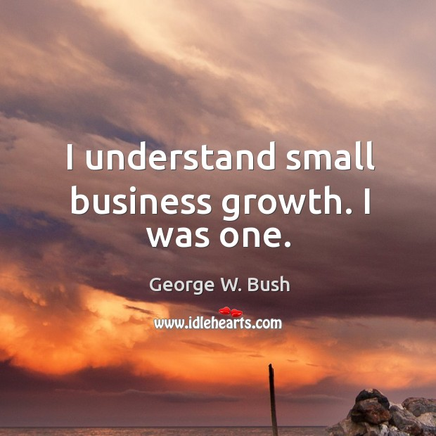 Image, I understand small business growth. I was one.