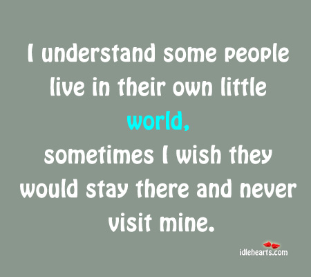 I Wish Some People Stay in Their Own World and Never Visit Mine.